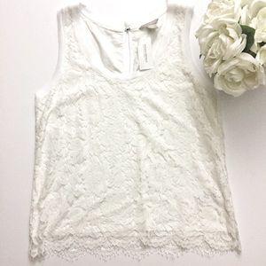 NWT Banana Republic white lace top Sz Medium